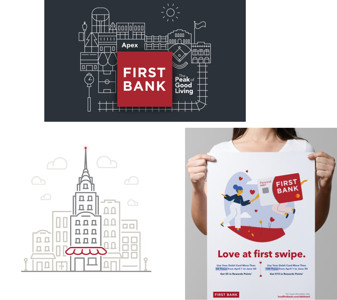 Examples of First Bank illustration pieces.
