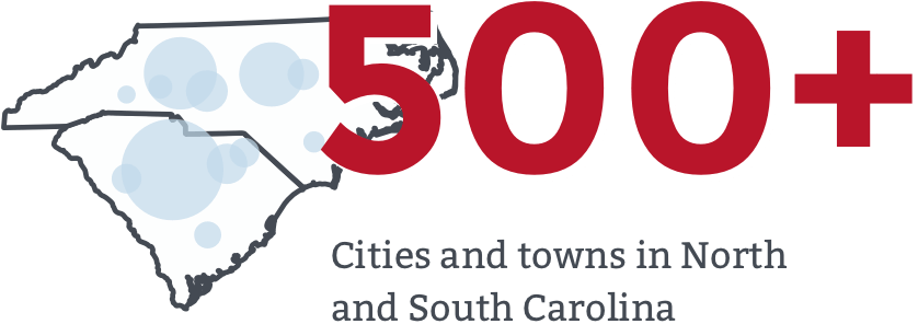 426 Cities and towns in North and South Carolina