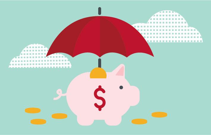 Pile of coins under an umbrella.