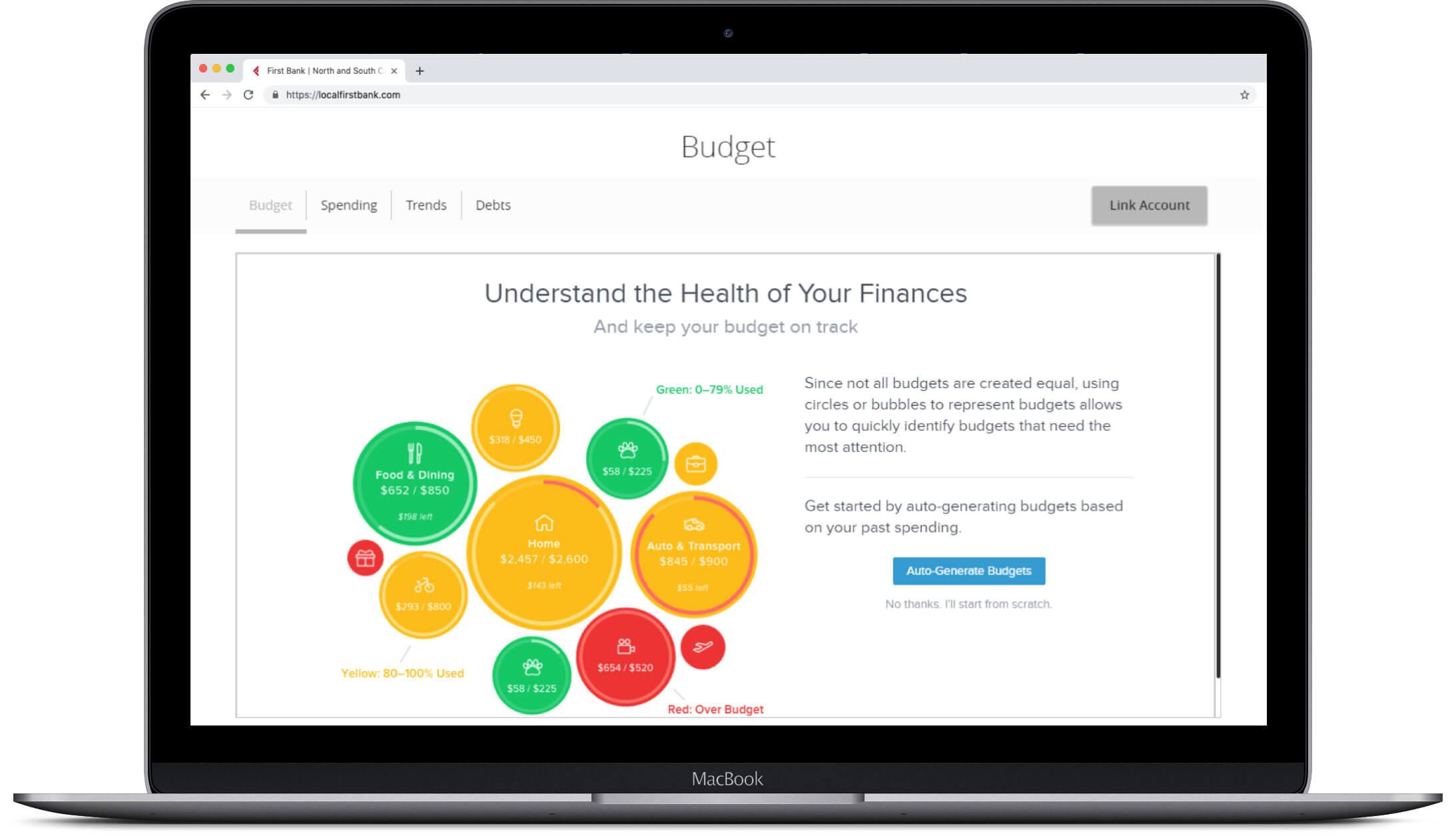 laptop showing mymoney budget screen