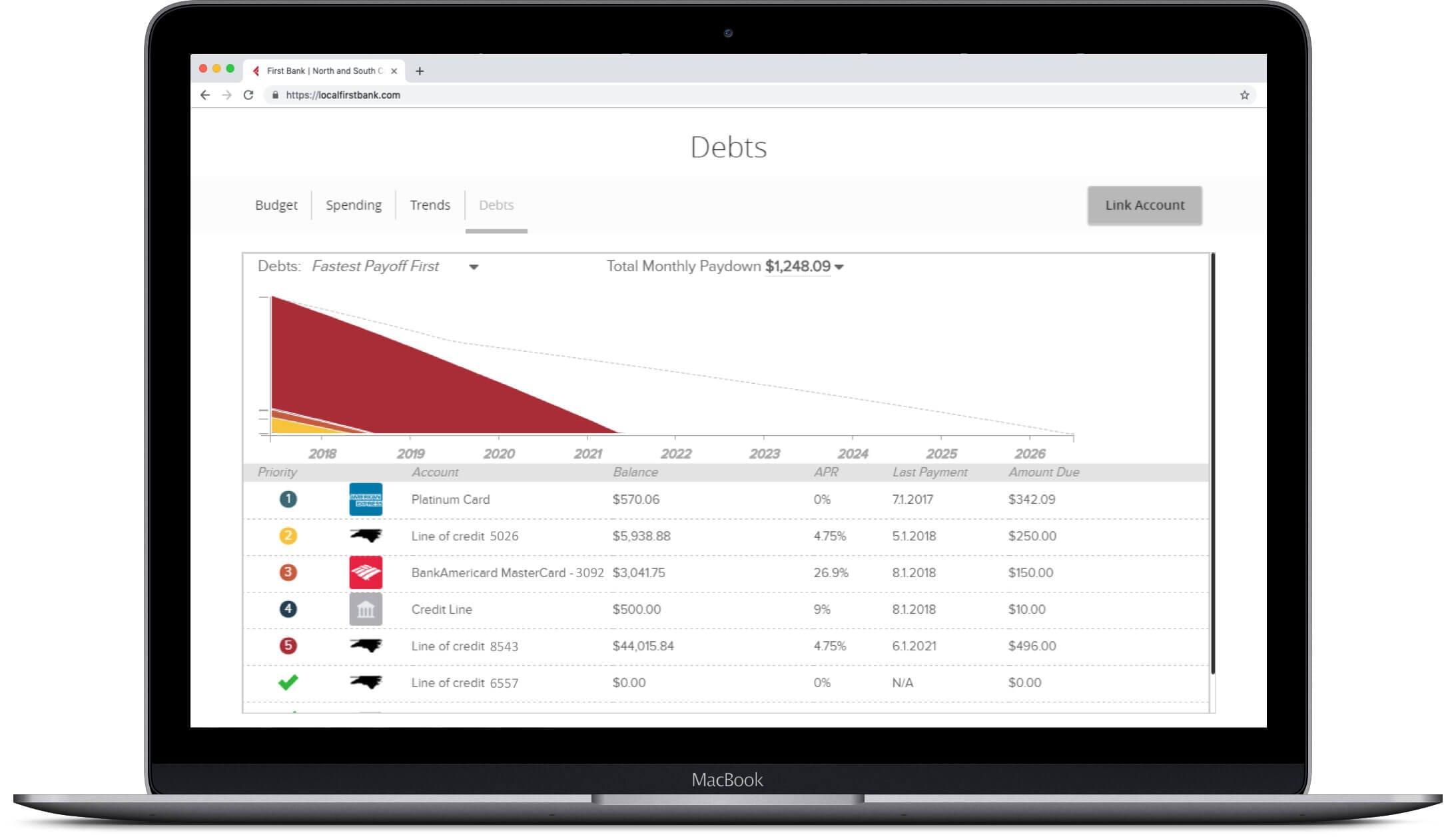 laptop showing mymoney debts screen