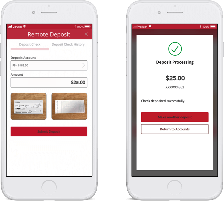phone with first bank mobile check deposit app