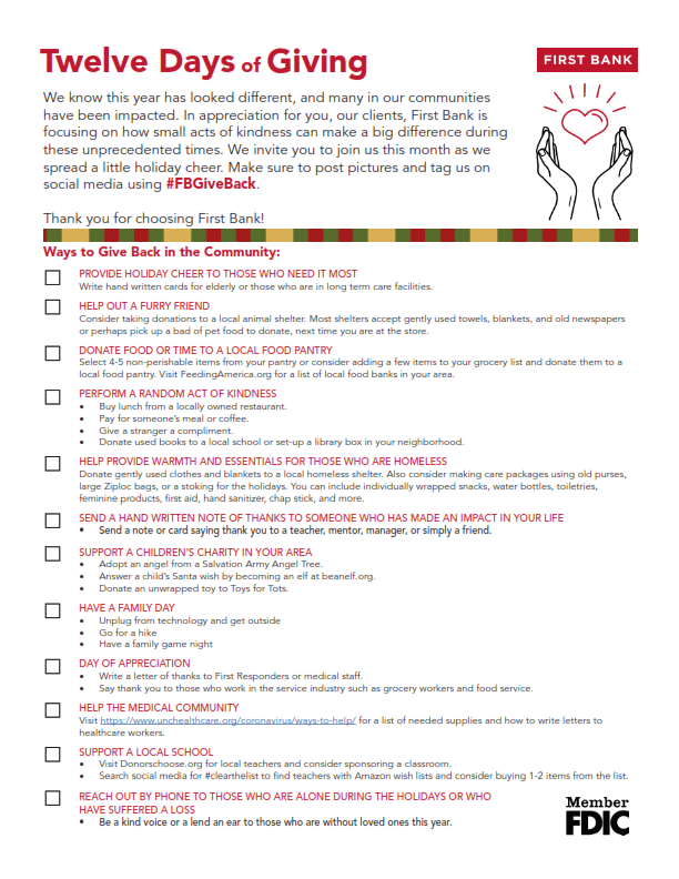 12 days of giving checklist