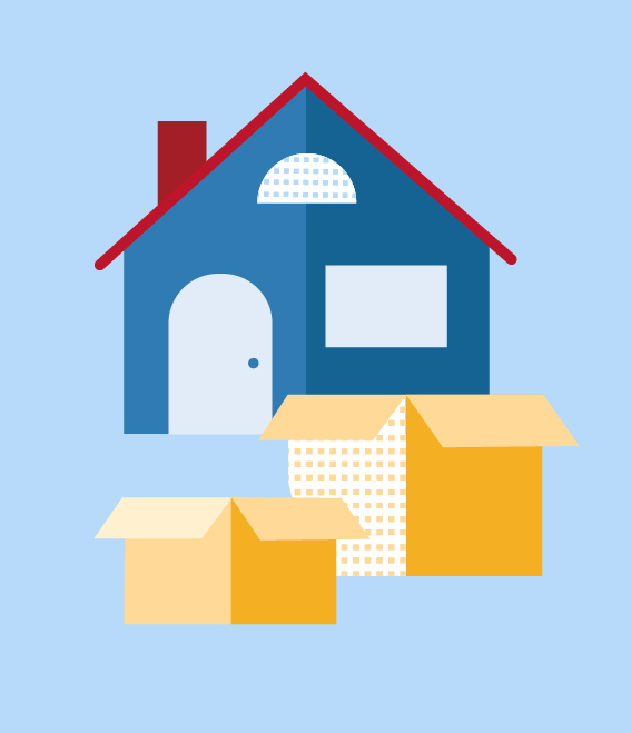 Illustration of home with moving boxes.