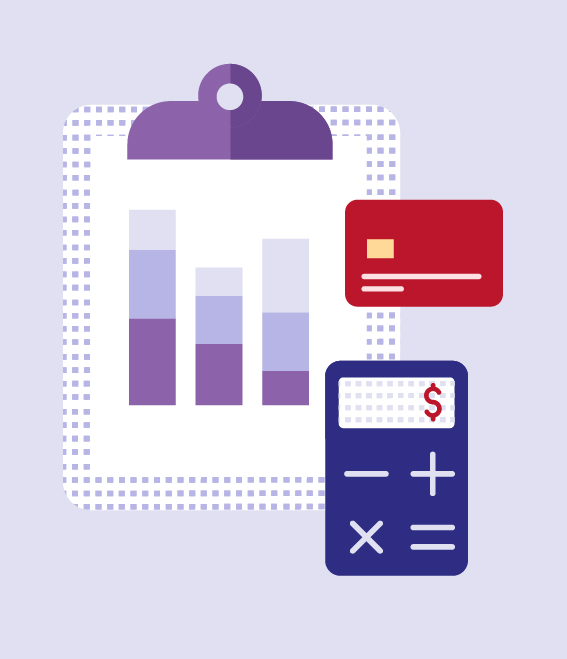 Illustration of clipboard with chart, credit card, and calculator.