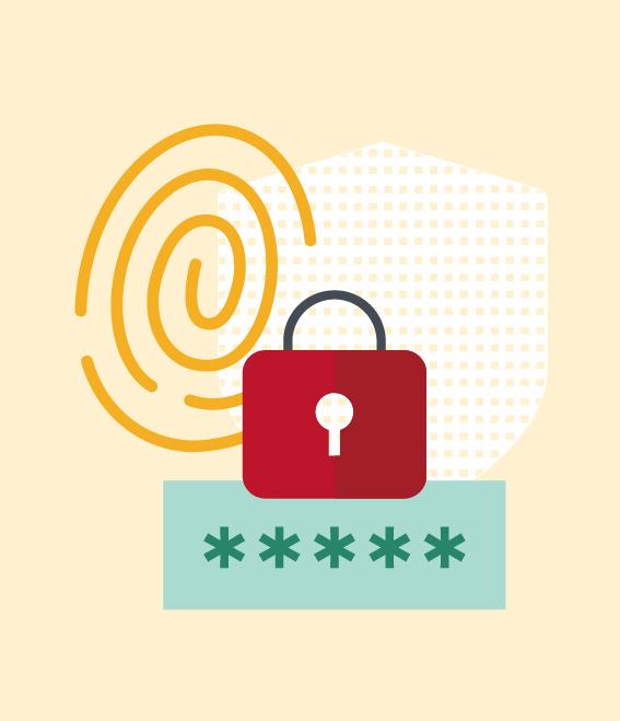 Illustration of lock, password field, and fingerprint.