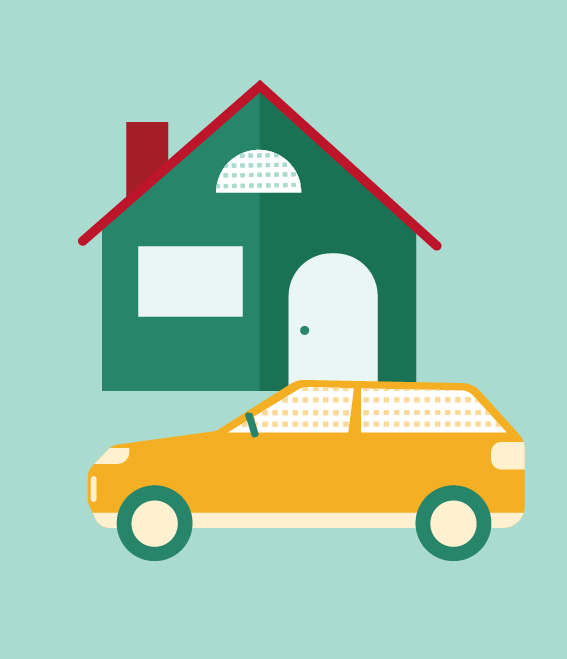 Illustration of house with car in front.
