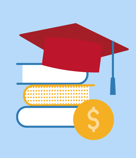Illustration of mortarboard on top of books.