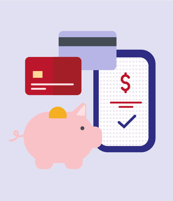 Illustration of credit cards, smartphone, and piggy-bank.