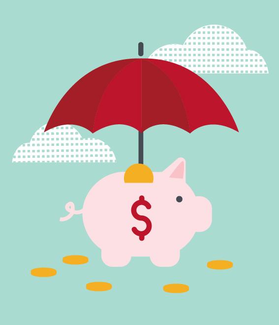 Illustration of piggy-bank with umbrella.