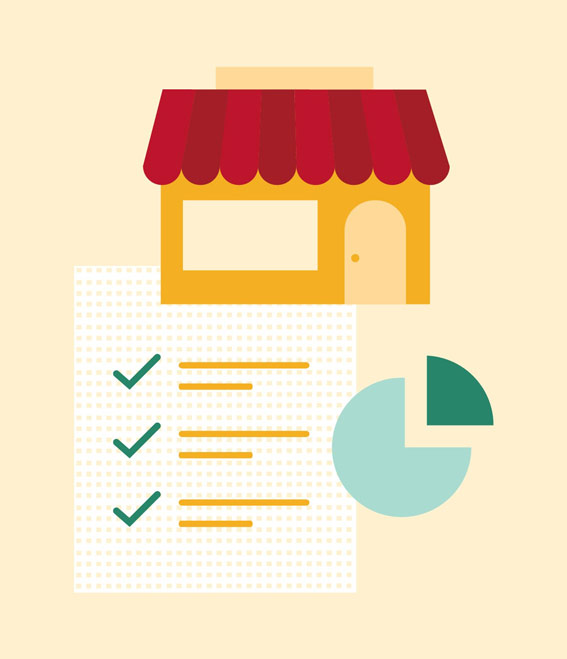 Illustration storefront with checklist and charts.