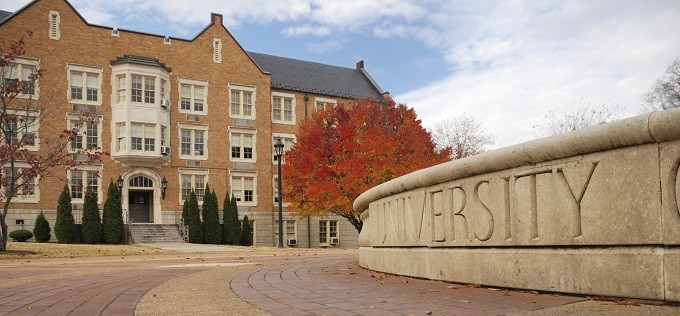 Exterior of a traditional college campus.