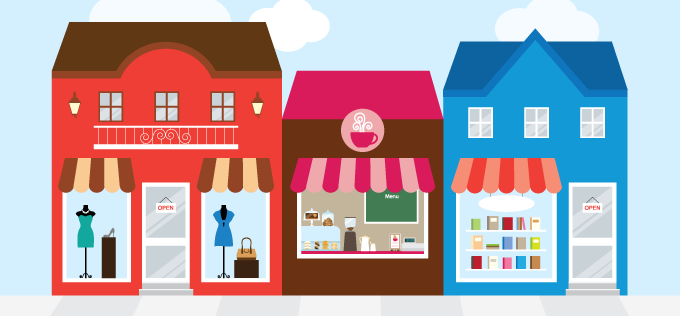 Illustration of Main Street shops.